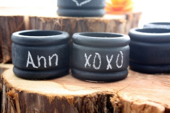 Chalkboard Napkin Rings Set of 6 wedding country primitive personalized DIY