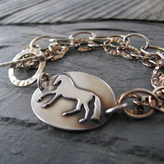 Flow - Handmade Fine Silver Horse Link with Sterling Bracelet