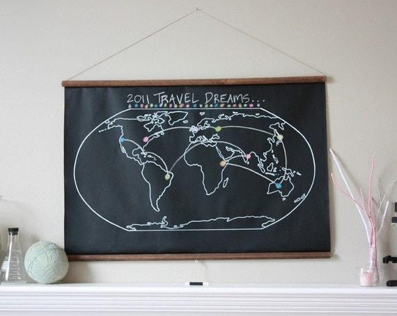 Chalkboard World Map - LARGER SIZE