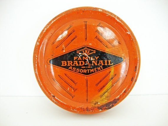 Vintage Brad and Nail Assortment Tin