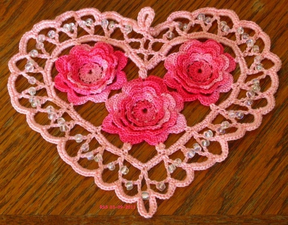 Pink Beaded HEART with 3D Shaded Pink Roses, Irish Crochet Lace, Romantic, Fiber Art, Home Decor, Applique, Pendant