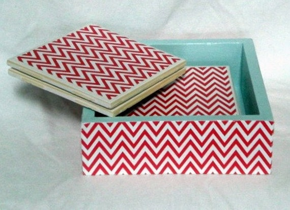 Party Set Red Chevron Coasters with Matching Container