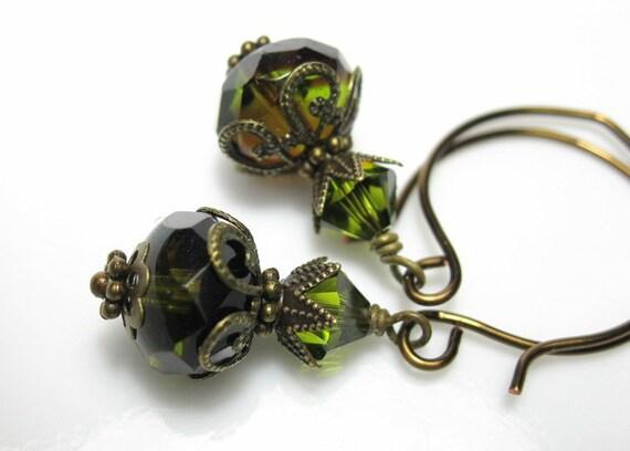 Olivine Burgundy Czech Glass Vintage Style Earrings