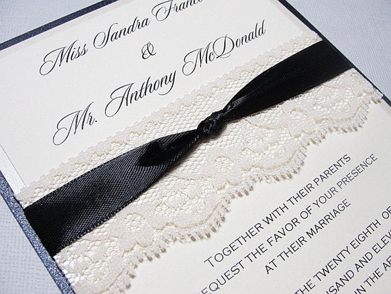Lace Wrapped Wedding Reception Invitations, Wedding Invites, Wedding Invitations, Sample, by ohsosweetprints on Etsy