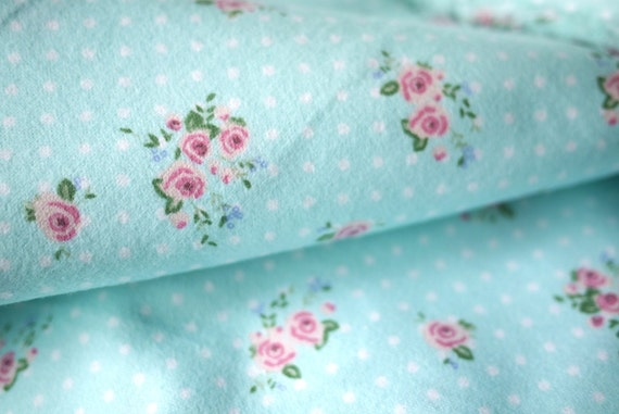 Little Pink Roses On Polka Dot Blue Cotton