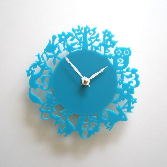 It's My Forest Clock - Turquoise Acrylic