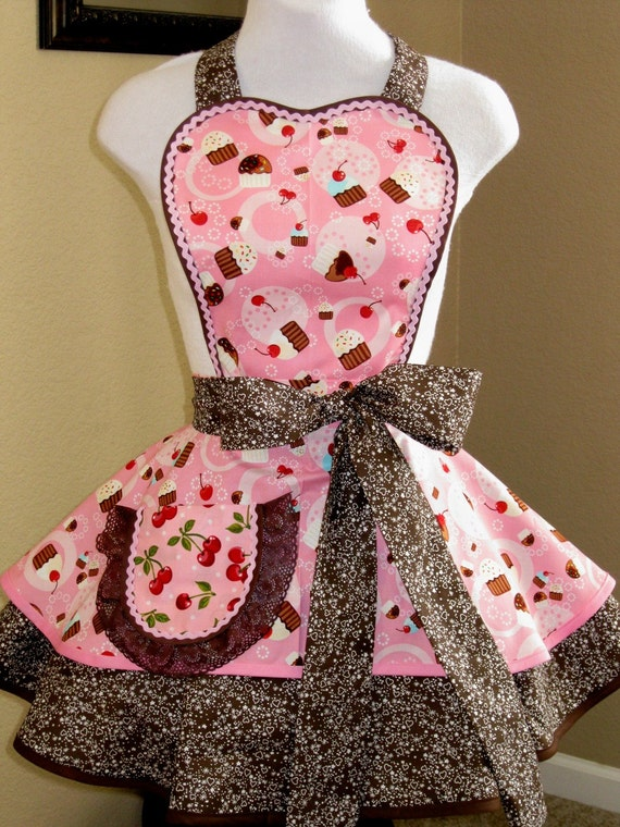 Pink Cupcake and Red Cherry Apron