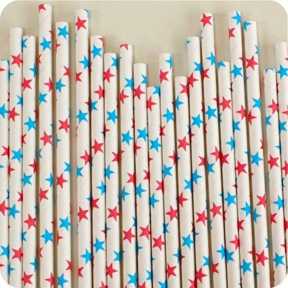25 STAR Paper Straws and FREE Flag Toppers