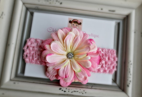 Beautiful Pink Flower with a Rhinestone Jewel Center - Newborn - Baby Girl - Toddler - Photo Prop and Baby Shower Gift