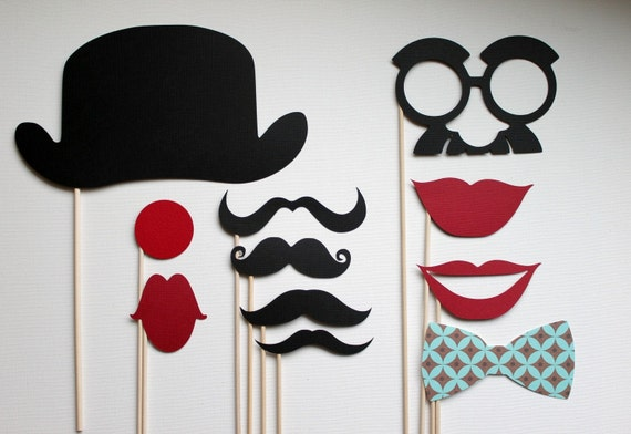 Circus Clown Photobooth Props on a Stick - Set of Eleven  V.2