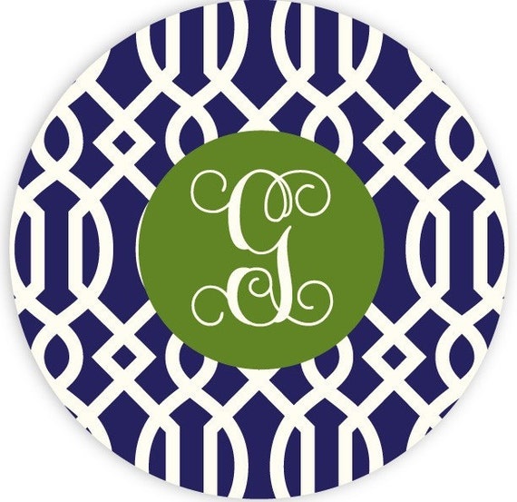 navy trellis - mousepad with custom monogram