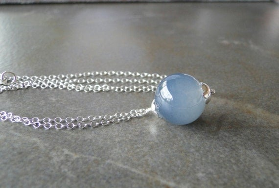 Smokey  Grey Glass Bead On Sterling Silver Chain by beadsme from etsy.com