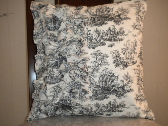 Burlap and Toile Pillow Cover