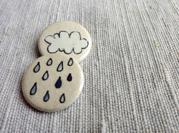 Sun, rain and cloud pin-back buttons