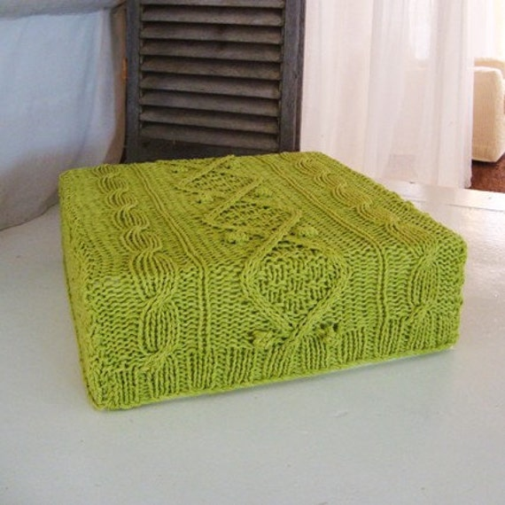 chunky knit lime green cotton floor cushion and cover