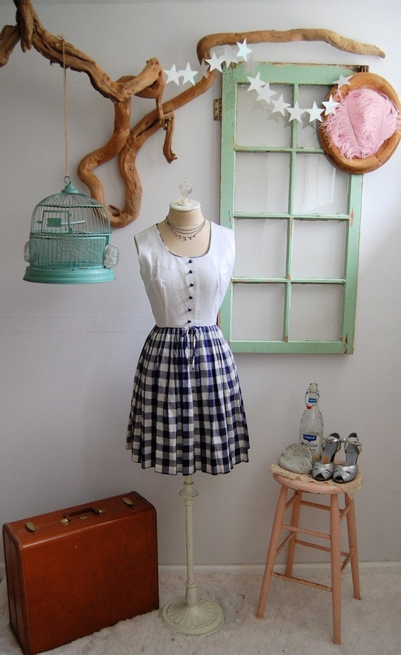 The Kora- Vintage 1950s Cotton Gingham Day Dress