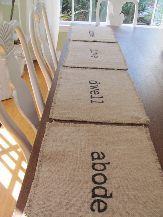 Rustic Burlap Place Mats Set of Four (dwell, live, home, abode)