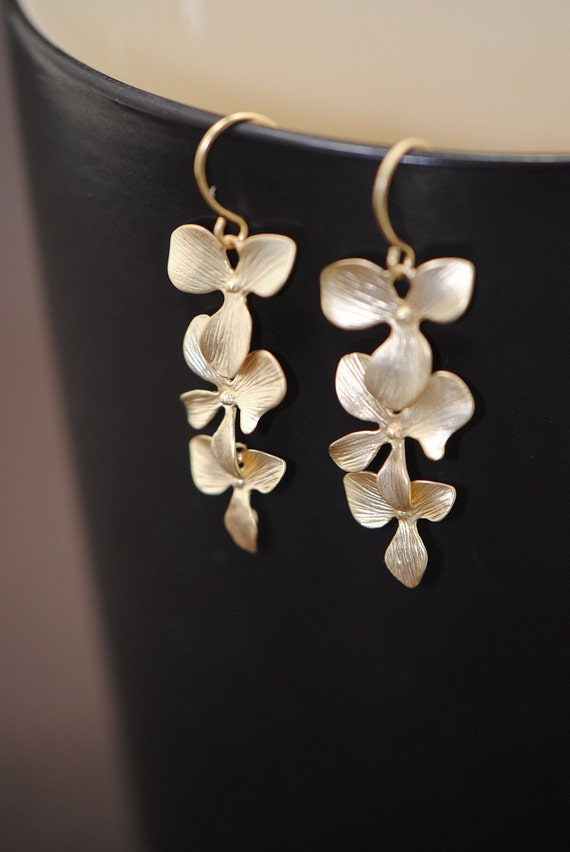 Triple Cascading Orchid Earrings in GOLD- Best Bridesmaid GIft Ever- Wonderful Present