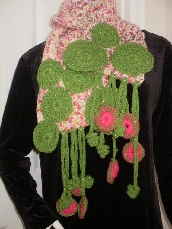 Tulips Blooming OOAK Freeform Scarf in Pink and Green