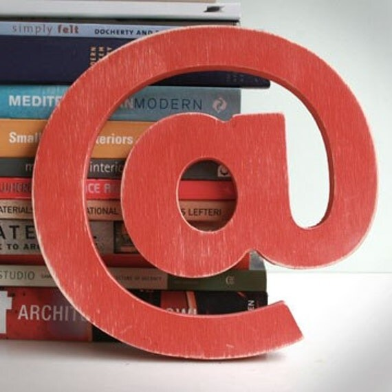 "Retro Modern Wood Letters- ""AT"" symbol in red"