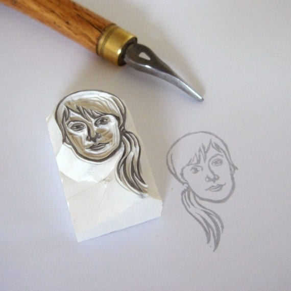 Custom / face / handcarved rubber stamp