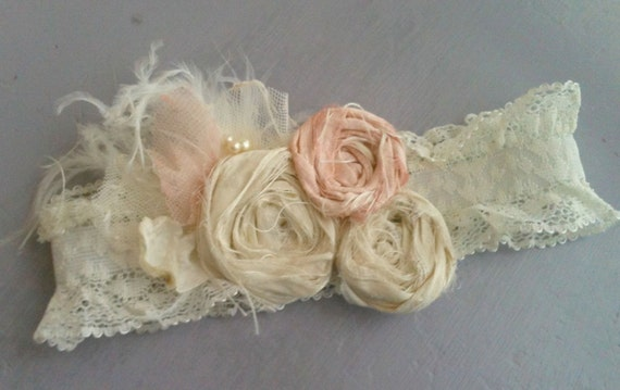 Vintage inspired rosette garter belt wedding infant headband