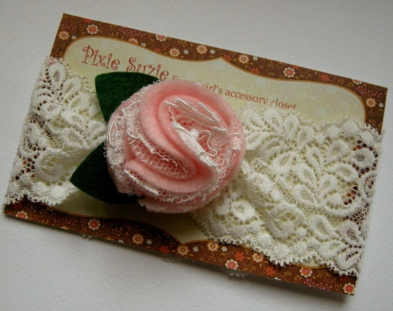 Loretta -  Lace and felt ruffle flower headband