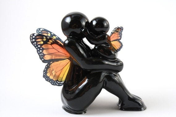 We are the Earth - mother and child monarch butterfly sculpture - made to order