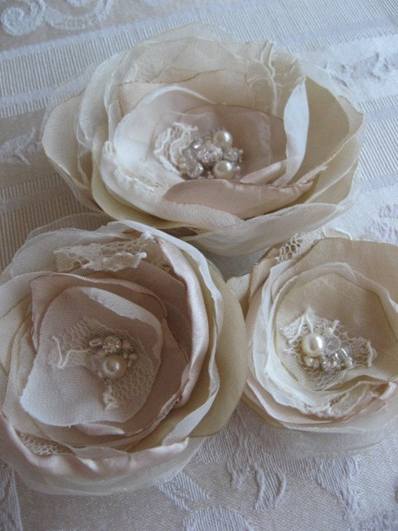 Brooch or hair pin set of 3, Ivory, creamy , sand,lace, rhinestone, pearls Rose Flower