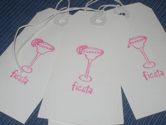 Fiesta Margarita in Pink Ink Tags - Set of Four (4)