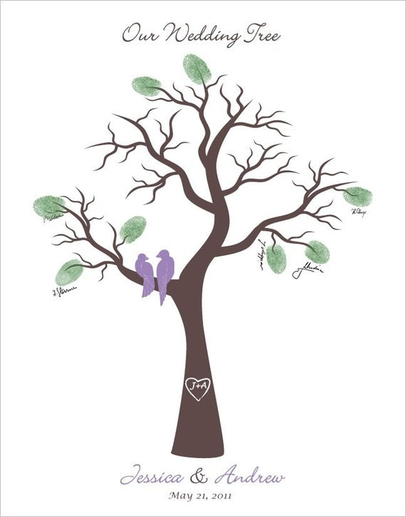 Personalized Wedding Thumb Tree Poster with Love birds in a tree, Personalized with your names, initials, date and your wedding colors, 11x14