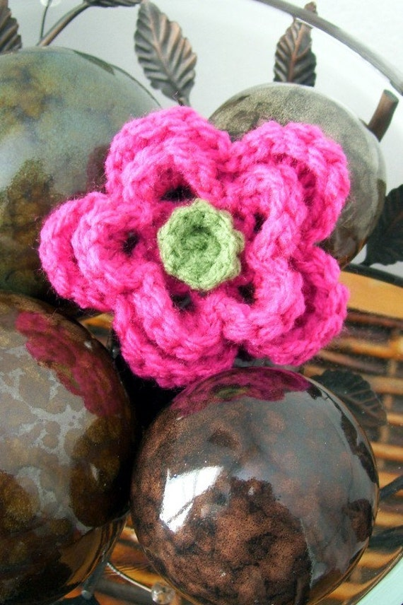 Crocheted Flower Pin Applique