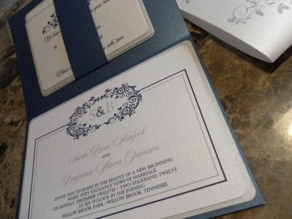 Elegant Platinum Silver/ANY Color  Metallic Folio Invitation Suite: Customizable