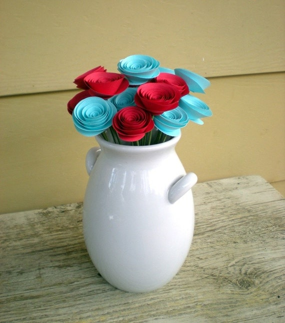 Paper Flowers Bouquet -- Aqua and Red (18 paper flowers)