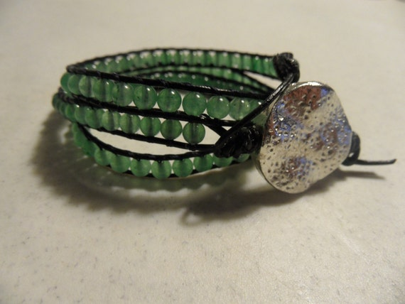 Triple Wrap Light Aventurine Beaded Bracelet