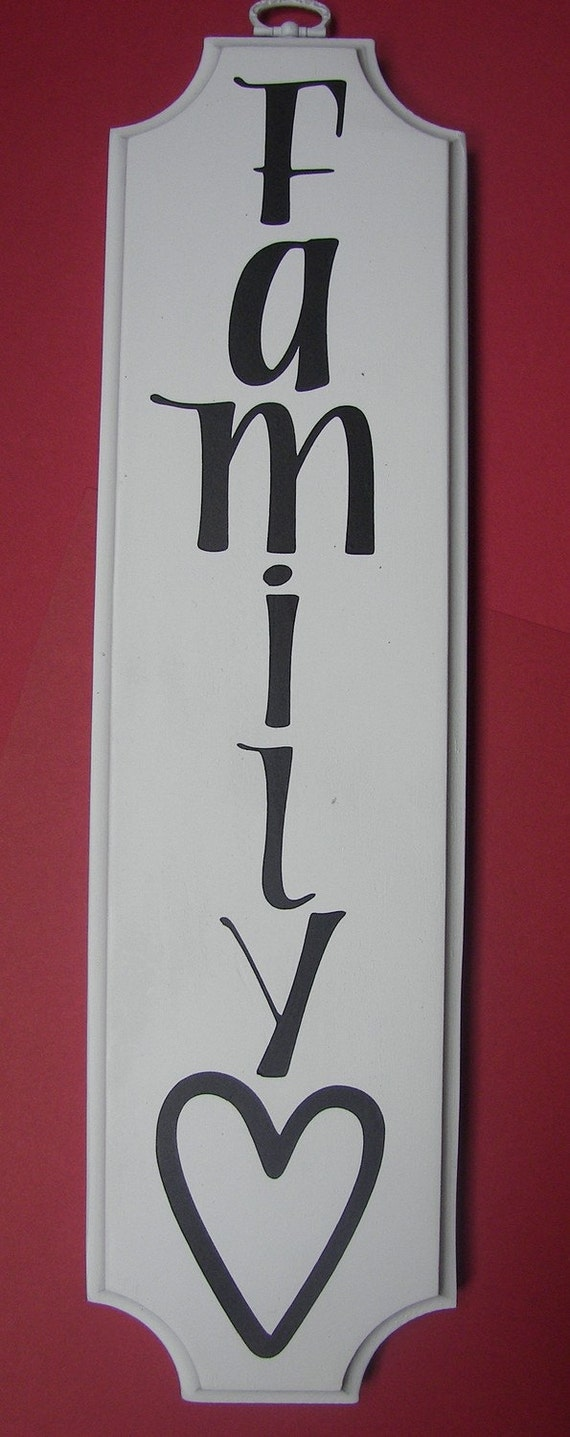 FAMILY LOVE vertical vinyl wood sign