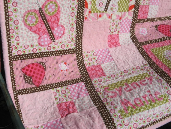 Custom Butterfly Kisses Baby Quilt - Handmade and Personalized