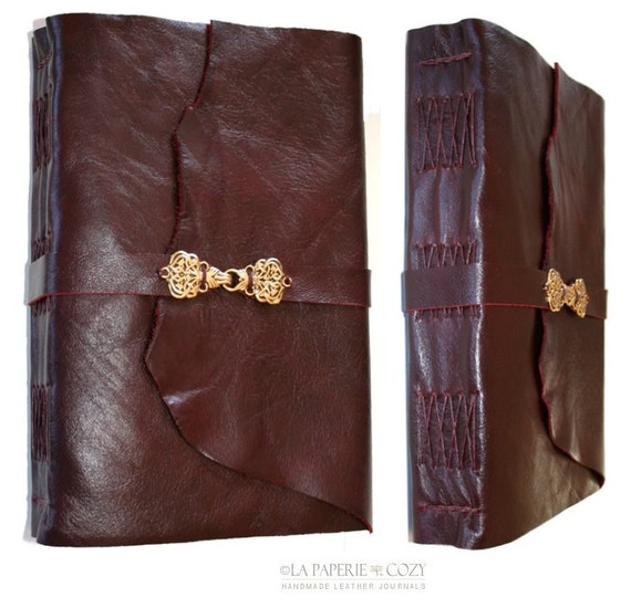 Large Handbound Leather Journal / Sketch / Guestbook . Deep Burgundy with Golden Hook Clasp . 9x6 . 320 pgs