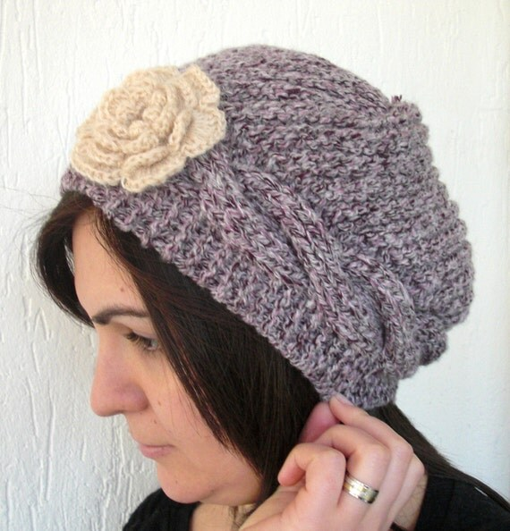 Slouchy Beanie  Hat  Hand Knit Slouch  HatWinter by Ebruk on Etsy from etsy.com