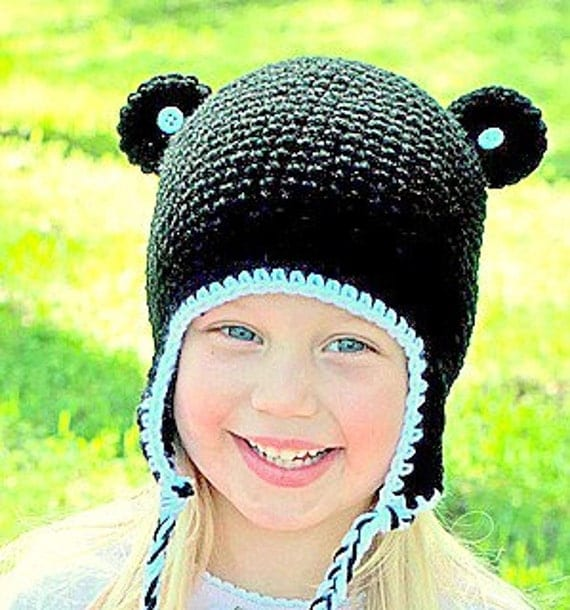 Child (ages 2-6) Black Panda Earflap Hat w/ Buttons