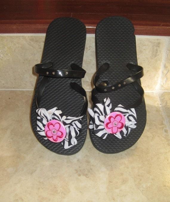 Tutu Toes-Zebra ribbon flip flops