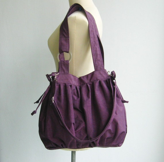 Water-Resistant Nylon Pumpkin Bag in Deep Plum
