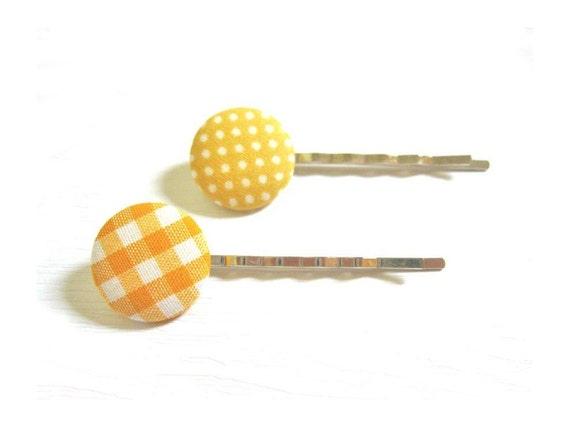 2 Ткани крытый кнопки Bobby Pins - Гингем и горошек