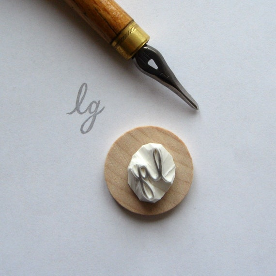 Custom / monogram / handcarved rubber stamp