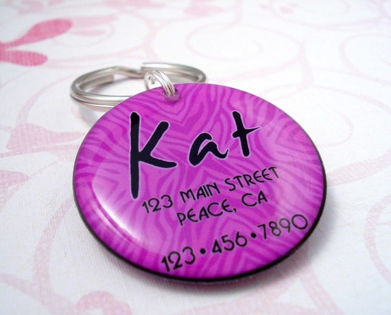 ON SALE  Purple Animal Print Pet Tag by HappyTags on Etsy from etsy.com