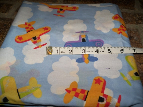 Destashing cute fabric sale Airplane and clouds cotton 2 1/4 yards