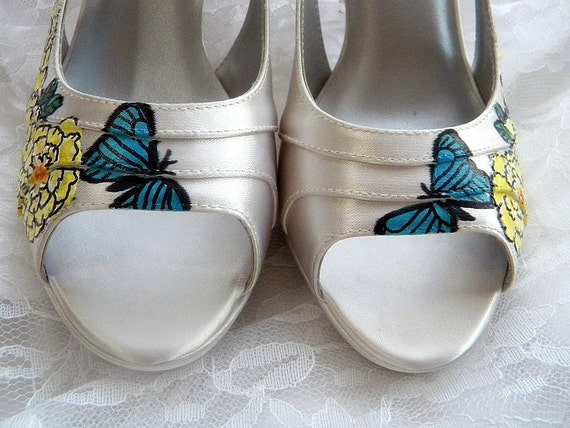 Wedding Shoes painted yellow peony blue morpho butterfly