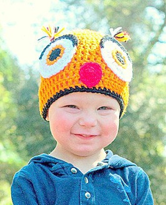 Crochet Toddler Owl Beanie Hat