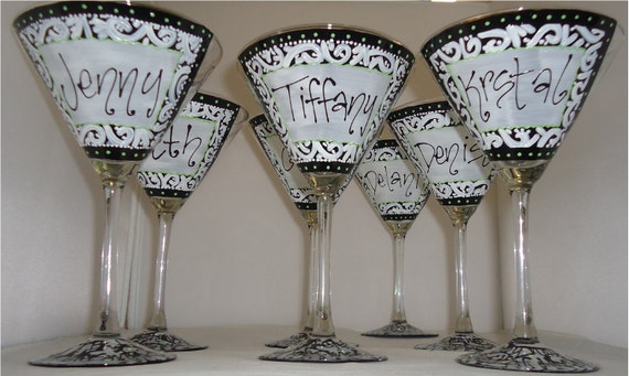 Black and White Damask Style Bridesmaid Wedding Bridal Bachelorette Party Hand Painted Martini Glass