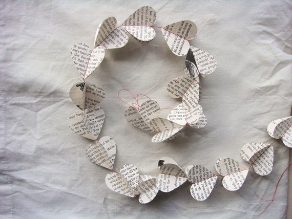 Handmade Recycled Paper Garland - heart by missIsa on etsy
